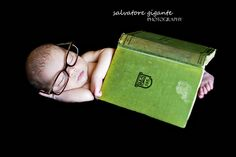 If my kid wasn't such a light sleeper, this would be adorable for my toddler, who loves books. book lovers, book worms, newborn photography, baby poses, babi, newborn posing, antique books, adoption books, newborn poses