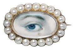 miniatures, pearl, lover eye, eye miniatur, brooch