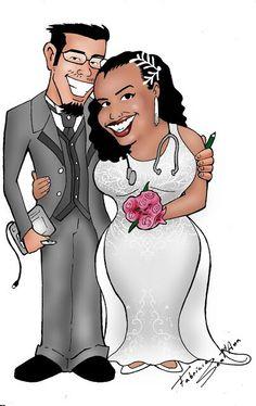 Caricatura de noivinhos Fabrício e Daniela