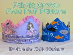 Free reversible fabric crown pattern and tutorial from Create Kids Couture! So easy & quick, made with scraps to match outfits, and great for play or photo shoots!
