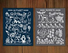 Woodland Alphabet & Number Poster Prints by FrenchPressMornings, $35.00