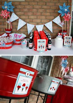 Root Beer Float bar. This would be awesome at a 4th of July party #fourth #of #july #fourthofjuly #party #idea #ideas #funideas #coolideas #food #foodie #yum #independence #day #family #fun #cookout #cookouts #grill #dessert #desserts #redwhiteandblue www.gmichaelsalon.com