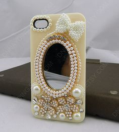 iphone 4 case bows   pearls Retro  mirror iphone case by dnnayding, $21.99