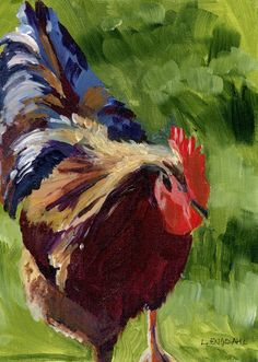 Love roosters.  From afar.  Laurie Engdahl,  Original Framed Painting - Acrylic on Canvas