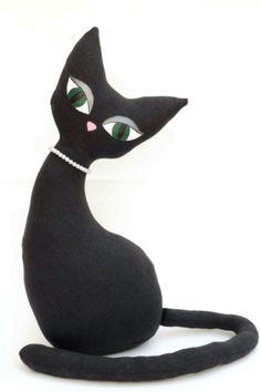 Cat doorstop deco pattern, cats, cat art, deco cat, pdf pattern, pattern art, cat doorstop, black cat