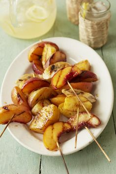 Grilled Fruit Skewers with Spicy Maple Cumin Glaze #myplate #grill #fruit