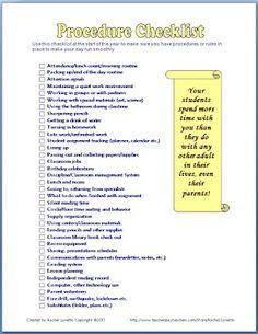 Classroom Freebies: Classroom Procedures Checklist