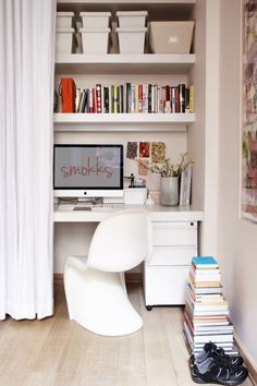 home office spaces, tiny office, office nook, offic space, closet office, desk, office chairs, office area, home offices