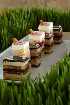 Mini Dessert Cakes. Serve over a bed of wheatgrass and let the baby shower theme grow to every corner of the event.