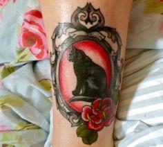Black cat and rose #tattoo phampyk