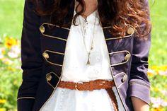 navy jacket and white dress