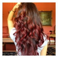 Curly Brown to Red Ombre Hair found on Polyvore
