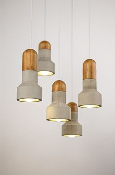 Concrete and Bamboo pendant lights by Bentu Design