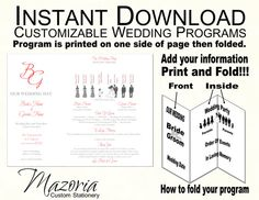silhouette wedding programs diy tri fold customizable instant download template red grey 6. Black Bedroom Furniture Sets. Home Design Ideas