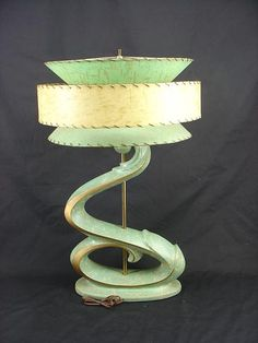 Mid-Century Modern •~• Plasto chalkware lamp with fiberglass shade