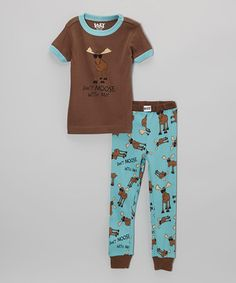 Look what I found on #zulily! Brown 'Don't Moose With Me' Pajama Set - Toddler & Kids by Lazy One #zulilyfinds