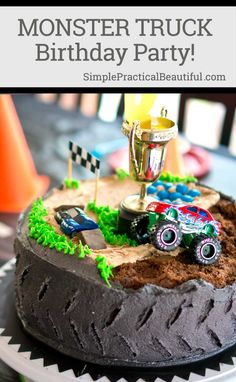 A monster truck birthday party with games, an obstacle course, games, a tire cake, and more