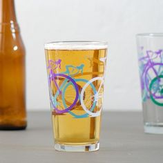 4 test print bike pint glasses multi colored bicycles by vital