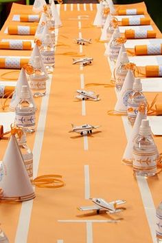 airport runway as table cover at airplane themed birthday party