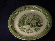 Vintage Green White Currier and Ives The Old Homestead in Winter Pie Plate. Click on the image for more information.