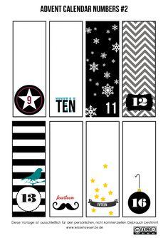 advent number, calendar number printables, adventskalend zahlen, numbers, diy adventskalend