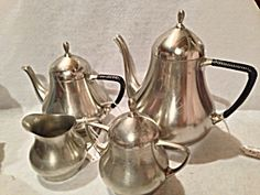 Bisco Holland 4 Piece Pewter Coffee, Tea Set With Creamer And Sugar