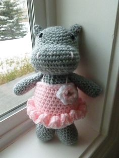 Daisy the Hippo in Tutu Crocheted Toy by CurlyTopCorner on Etsy,