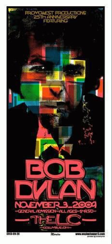 Original silkscreen concert poster for Bob Dylan at Lifestyle Communities Pavilion in Columbus, Ohio in 2009. 12 x 26 inches. Signed and numbered out of 200 by the artist Mike Martin