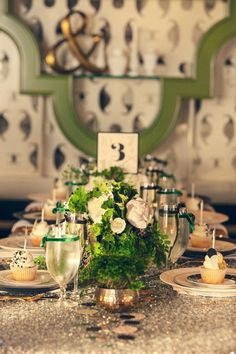 green and gold table // event design by CoutureEventssd.com photo by SheWanders.com