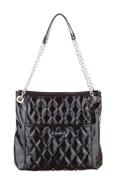 Grace Adele Handbag ~ Alex in Black patent quilted bag with convertible chain straps.  $80