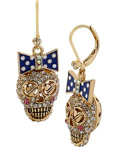 NAUTICAL SKULL DROP EARRING BLUE accessories jewelry earrings fashion