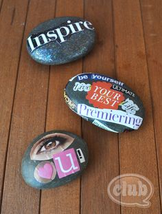 magazine clippings + Mod Podge + rocks