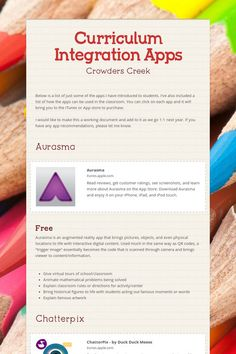 Crowders Creek Curriculum Integration Apps