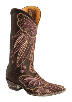 Old Gringo Lakota Purple Butterfly Embroidered Cowgirl Boots - Pointed Toe available at #Sheplers