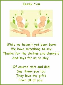 Baby Shower Thank You Poems For Twins