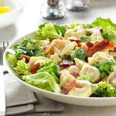 Lemony Tortellini Bacon Salad Recipe from Taste of Home -- shared by Samantha Vicars of Kenosha, Wisconsin