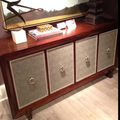 Vanguard sideboard by Thom Filicia with upholstered inset panels & nailhead trim.  Panels can be in any Vanguard fabric, COM or leather.  Super stylish! #hpmkt