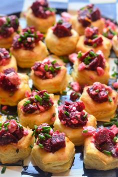 Puff Pastry Beet and Feta Cups | reluctantentertainer.com