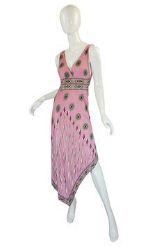 1970s Amazing Asymmetrical Pink Emilio Pucci Dress