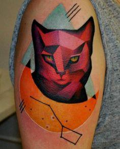 Cubism cat moon tattoo by MARCIN ALEKSANDER SUROWIEC