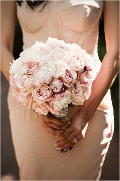 pink wedding bouquet - peonies and roses only