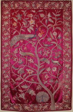 Antique Turkish Silk Embroidery Tapestry Textile