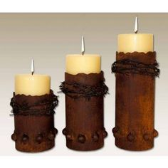 Barbed Wire Candle Holders | Rustic Western Decor | Rustic Candle Holder | Antlers Etc - Rustic Cabin, Lodge & Hunting Decor