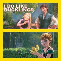 I realize Anna is holding goslings, but it's close enough, right? :)