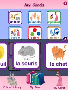 "Princesses Learn French: Like this company's ""Je m'amuse en..."", this app uses fairy tales and short games to introduce new words in the target language (French, Spanish, German, Chinese).  This one is designed specifically for children who don't already speak French (or the target language)."
