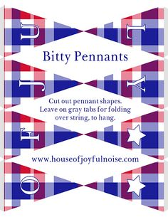 4th-of-July-Printables, includes pennants,cupcake wrappers, menu cards, etc., and easy instructions.  http://houseofjoyfulnoise.com/polka-dot-and-plaid-4th-of-july-printables-for-celebrationscookouts/  #4thofjulyprintables, #4thofjuly, #redwhiteandblue