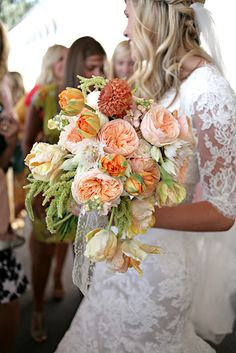 Cascading peach garden rose and tulip bouquet by Sarah Winward.