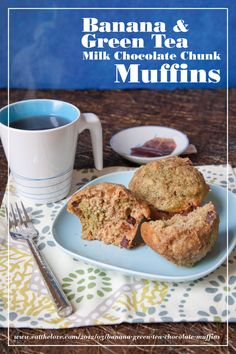 Banana & green tea milk chocolate chunk muffins - a great excuse to eat chocolate in the morning! By Irvin Lin of Eat the Love. www.eatthelove.com #recipe