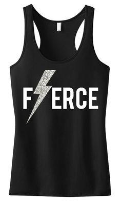 FIERCE Glitter Lightning Black Workout Tank, Workout Clothing, Workout Tanks, Gym Tank, crossfit tank top, Crossfit, Workout Shirt, Fitness