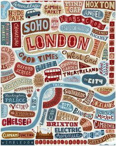 london home, graphic, maps, poster, typography, place, design, print, hand lettering